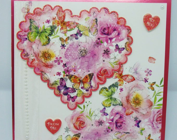 Valentine Card, Love Card, Romance Card, Anniversary Card, From Me To You, Flowers and Butterflies, Any Age, Female, Wife, Girlfriend