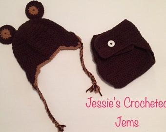 Crochet Baby Animal Hat and Diaper Cover Set