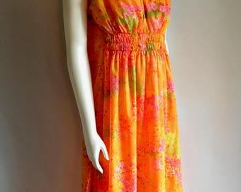Vintage Women's 70's Boho, Floral Dress, Orange, Sleeveless, Full Length (M)