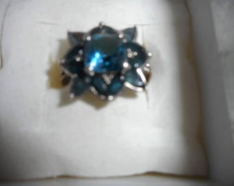 Neon blue topaz with London blue topaz sterling silver 925/ size 6.5