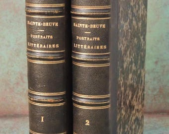 Portraits Litteraires By Sainte-Beuve 1862, French Leather Book, French Literature, Library Decor, Decorator Book, Chanteclair Interiors