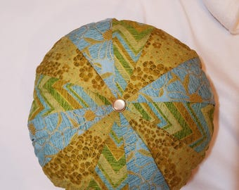 Sprocket pillow, blues, green and gold, Round pillow, decorative pillow, Dresdin pillow, blue and green pillow,