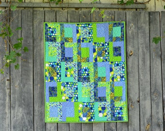 Whimsical Blue and Green Polkadot Throw Quilt, Toddler Quilt, Baby Quilt, Playmat, Throw Quilt
