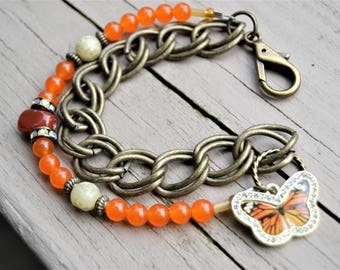 ORANGE QUARTZ CHAIN Two Row Bracelet with Orange and Gold Butterfly Charm