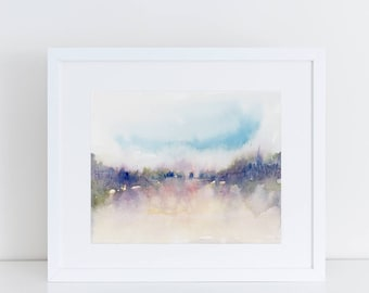 Minimalist Art, Watercolor Print, Abstract Landscape, Modern Art, beach, pink, Landscape art print, Expressionist