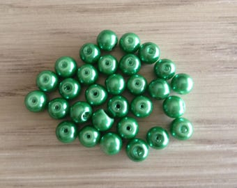 Glass beads round green x 30