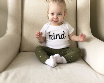 Kind Baby Bodysuit and Toddler Shirt