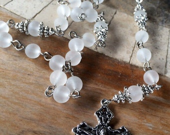 Rosary, handmade with clear frosted glass beads and tibetan silver crucifix and St Jude connection station