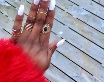 White Glossy Press on Nails/Swarovski Crystals/ Any shape/ Any Size/ Fake nails/ False Nails