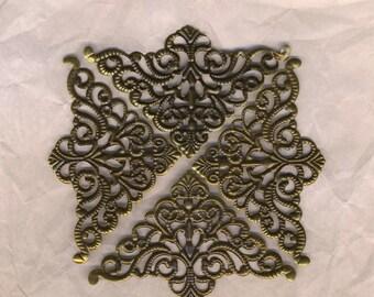 Filigree triangles bronze prints, prints corners, scrapbooking, decorations, embellishments, ornaments metal 60/70 mm