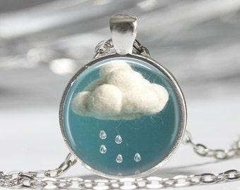 Rain Cloud Pendant Necklace or Rain Cloud Keyring Rain Cloud Jewelry Rain Cloud Pendant Rain Cloud Necklace Raining Raindrop