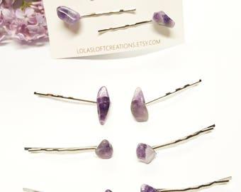 Amethyst Hair Pin/ Amethyst Barrette/ Amethyst Gemstone Hair Pin/ Amethyst Crystal Hair Pin/ Gemstone Accessories/ Gemstone Hair Clip/Hippie