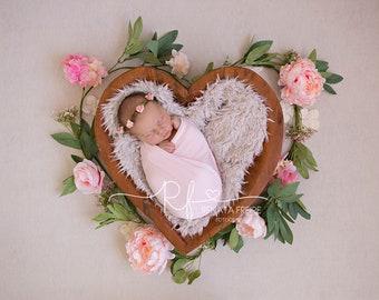 Heart flower bowl digital Newborn Backdrop/Background Prop