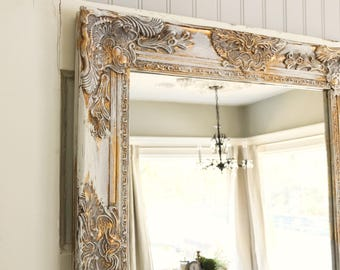 Farmhouse Mirror, White and Gold Distressed Mirror, Shabby Chic Mirror, Bathroom Mirror, Ornate Mirror
