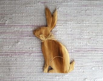 Wooden bunny home ornament. Bunny Easter decor.