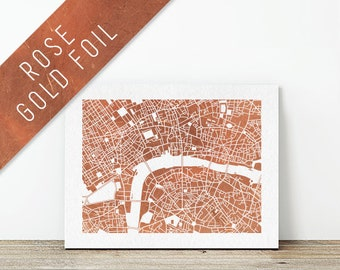 """LONDON, United Kingdom // Collectable 8x10"""" Rose Gold Foil City Map Print by The Wanderlust Collective // Home Decor, Wall Art, Handmade"""