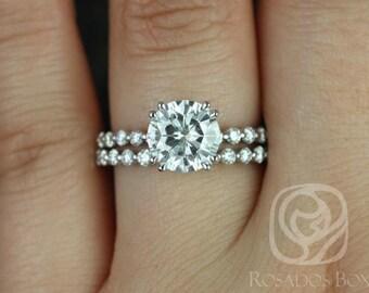 Rosados Box Naomi 8mm 14kt White Gold Round F1- Moissanite and Diamonds Double Talon Wedding Set