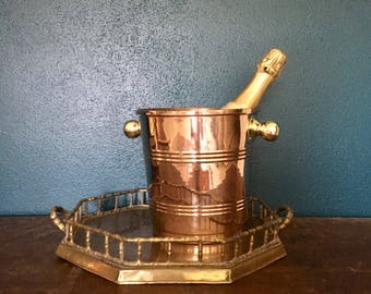 vintage copper and brass champagne chiller glam barware