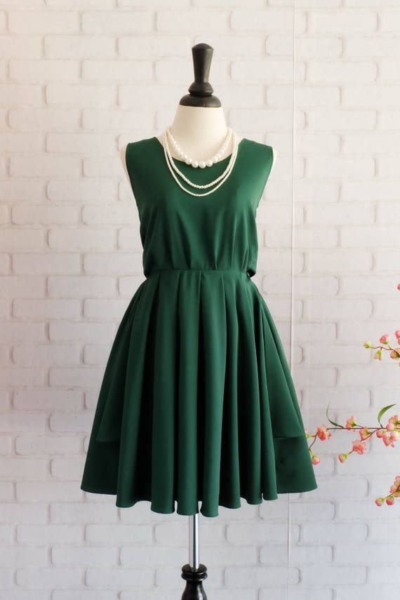 Forest Green dress Green party dress Green prom dress Green