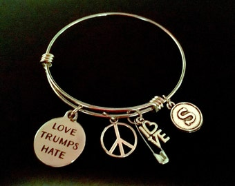 LOVE TRUMPS HATE Adjustable Stainless Steel Bangle Bracelet with Love, Peace, Safety Pin & Initial Charm