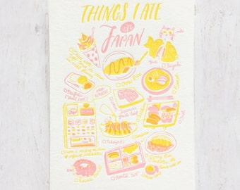 Things I Ate in Japan Letterpress Postcard