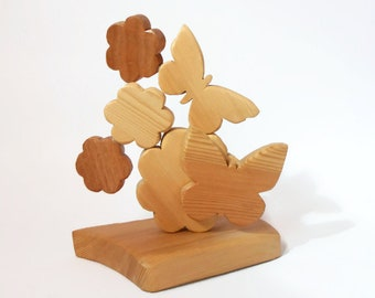 Decoration wood flowers and butterflies-wooden furniture-gift idea