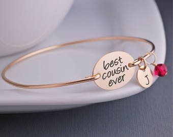 Personalized Gold Cousin Bracelet, Bangle Bracelet, Gift for Cousin, BFF Cousin Jewelry, Custom Engraved Bangle Bracelet