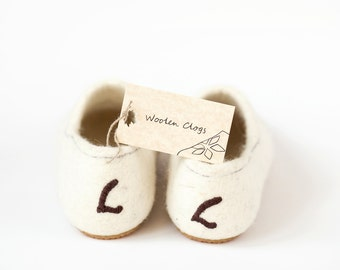 Wool slippers for women felted from cruelty free organic wool - ideal gift for a bridesmaid or a bride