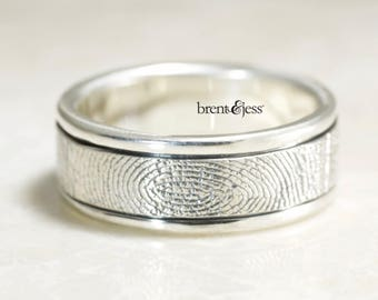 Fingerprint Ring,Hand Carved Rims Fingerprint Wedding Ring with Wrapped Print on the Outside,  Sterling Silver