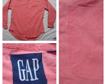 Clearance Vintage Retro Men's 90's Gap Red Pink Faded Cotton Long Sleeve Shirt Large