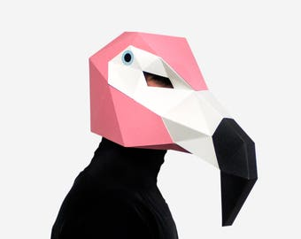 Flamingo Mask Bird Paper Animal DIY Printable Head Instant Pdf Download 3D Polygon Masks