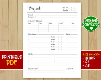 Project tracker printable, Project Tracker, Notebook Insert, Project Journal, Project Planner, printable insert - INSTANT DOWNLOAD