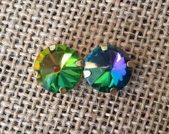 14 mm crystal rivloli earrings