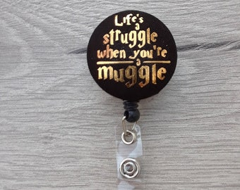 Muggle Badge, Harry Potter Badge Reel, Nurse RN Teacher, Fabric Badge Clip / Alligator, ID Name Badge Holder,Belt Clip Retractable