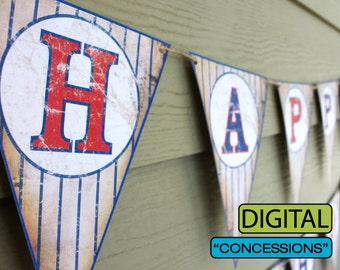 """Vintage Baseball Party """"CONCESSIONS"""" Banner Sign"""