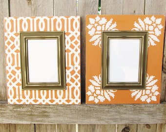 Set of Two Fall Frames with Moroccan and Damask Patterns in Burnt Orange, Cream and Espresso