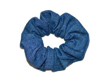 Denim Hair Scrunchie, Denim Scrunchie, Hair Scrunchie,blue Scrunchie,Handmade Scrunchie ,Denim hairband,Gift Under 10