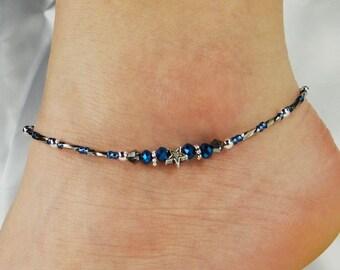 Anklet, Ankle Bracelet Star Anklet, Blue Anklet, Beaded Anklet, Star Jewelry, Celestial Jewelry, Minimalist Anklet Minimalist Jewelry Galaxy