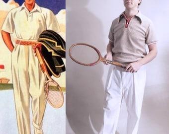1930's style tennis trousers, vintage sportswear, cream vintage trousers, high rise trousers, 1940's, Gatsby trousers, 1930's, 1920's