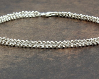 Silver Anklet - Beaded Anklet - Ankle Bracelet - Beadwork Jewelry - Beach Wedding Jewelry - Bridesmaid Gifts - Karen Hill Tribe Silver