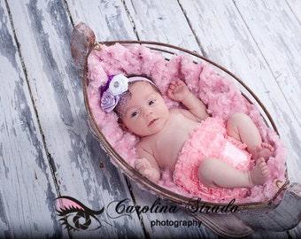 Lavender and White Rosette Netting Rhinestone Headband Preemie Newborn Infant Toddler Photography Prop