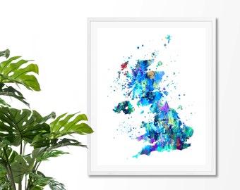 United Kingdom  Watercolor Map #1 Art Print,  UK Map Poster, Wall Art, Contemporary Art, Modern Wall Decor, Office Decor