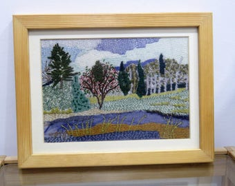 Landscape wall art,  Mountains wall decor, Nature hand embroidery art, Scenery wall decor, Fiber art, Landscape wall hanging