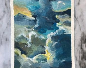 Blue Clouds, Original Watercolor Painting, 4x6, handmade painting, miniature painting, landscape, watercolor landscape