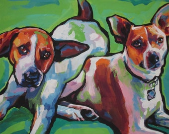 """Mountain Feist dogs PRINT of modern colorful pop art painting 8.5x11"""" bright colors"""