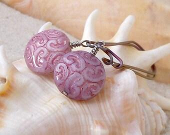 Gift for Mom - Hypoallergenic  - Titanium  Earrings - Pink Earrings - Pure Titanium - Dangle Earrings - Beaded Earrings - Drop Earrings