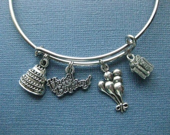 Happy Birthday Bangle - Happy Birthday Charm Bracelet - Happy Birthday Jewelry - Charm Bracelet - Bangle - Birthday Jewelry -- B110