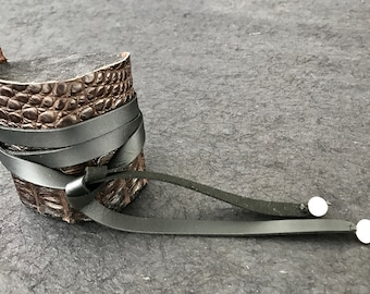 Clean Crocodile wrap cuff bracelet
