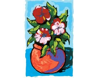 Flowers in Orange Pot, silkscreen print