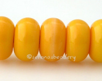 Lampwork Glass Spacer Bead 5 SQUASH YELLOW - Glossy & Matte, Handmade Donut spacer, Rondelle glass bead